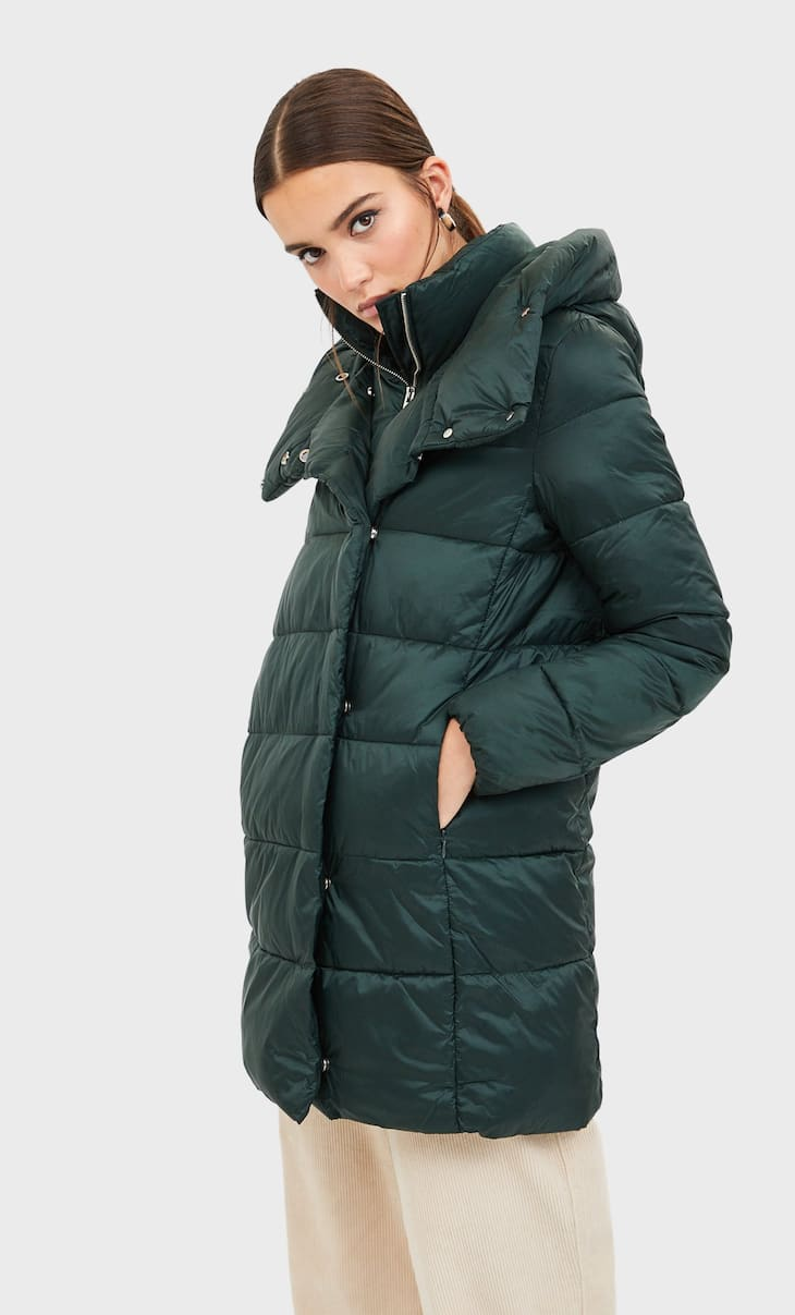 Manteau matelassé double col