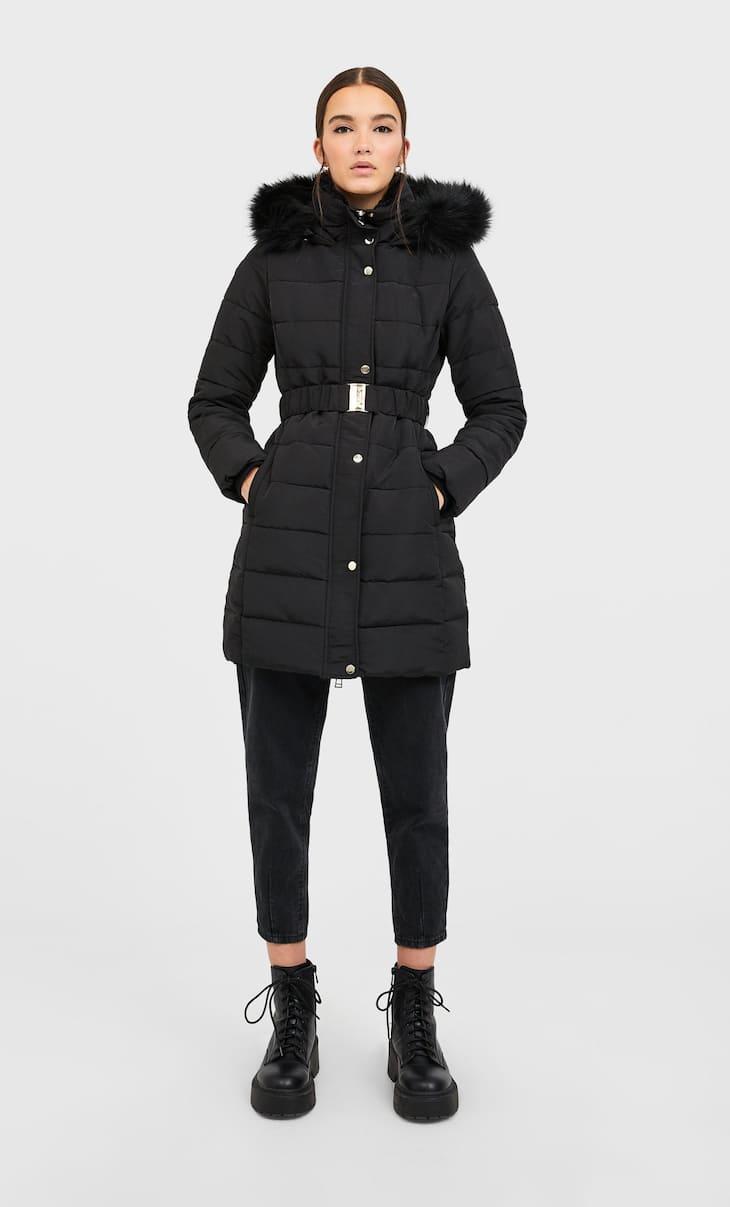 Puffer coat with belt