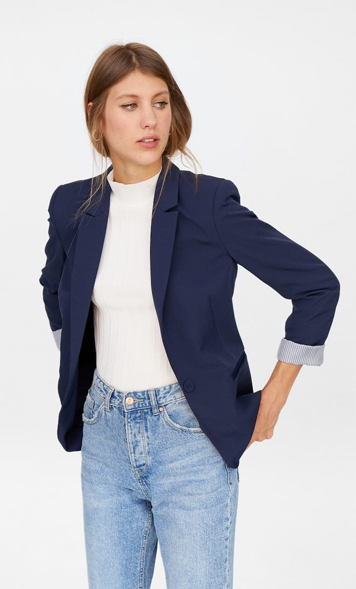 Blazer with satin pocket