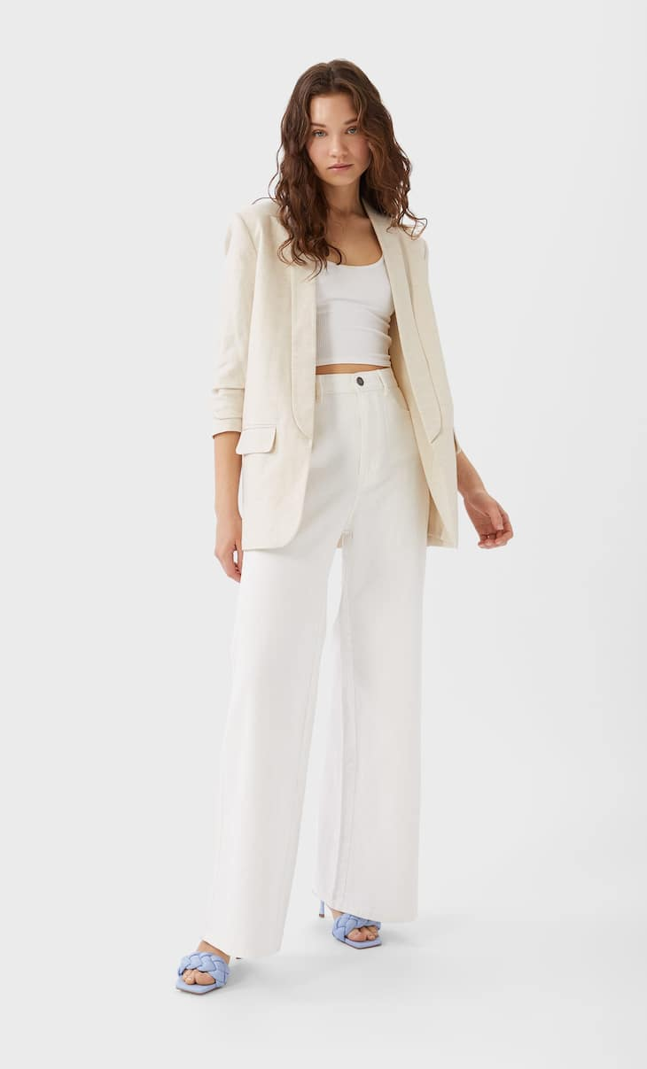 Linen blazer with gathered sleeves