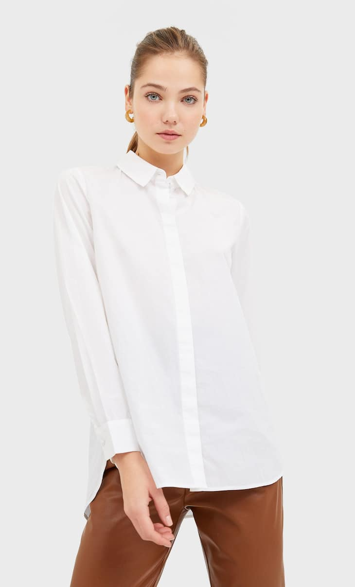 Camicia basic in popeline