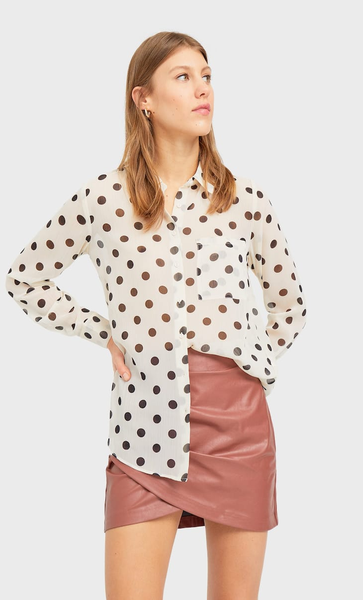 Semi-sheer shirt with polka dots