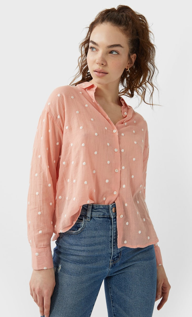 Camisa topos bordados