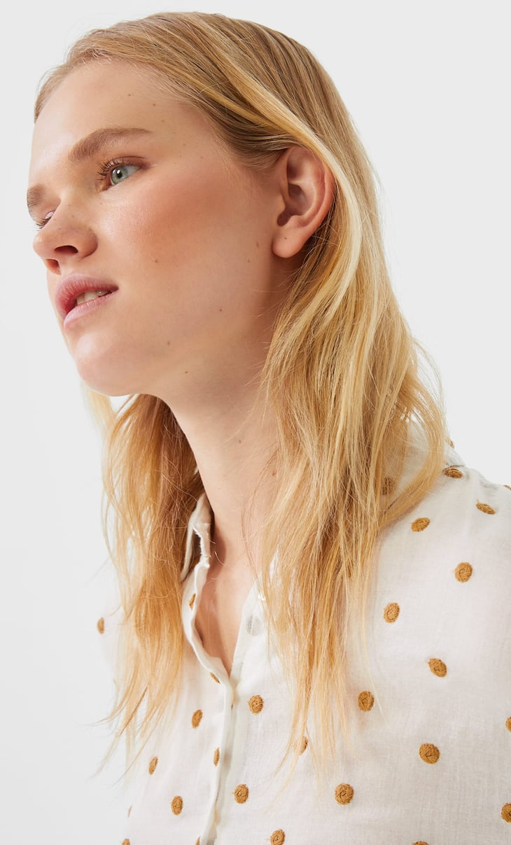 Embroidered polka dot shirt