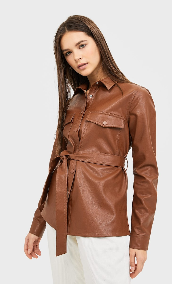 Belted faux leather overshirt