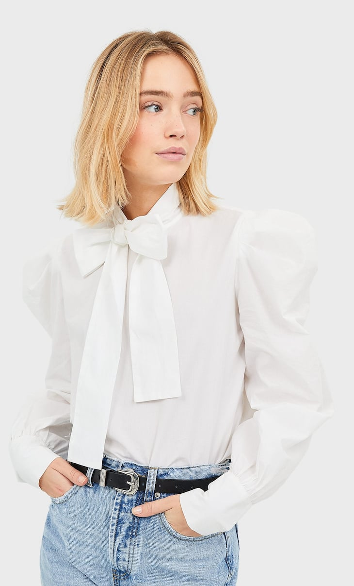 Blouse with neck bow