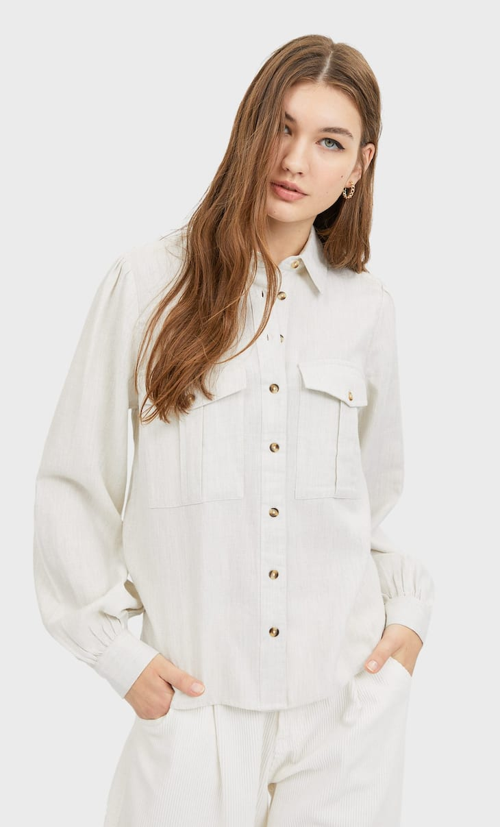Utility shirt with puff sleeves