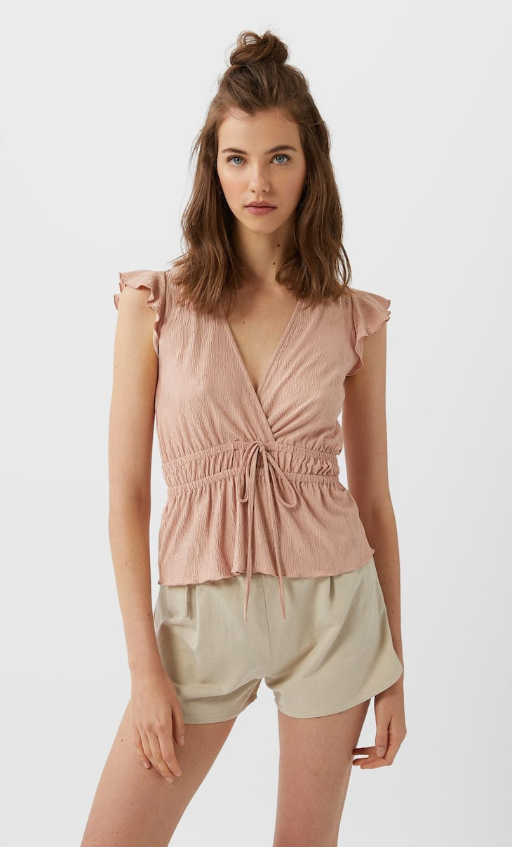 Pleated top with drawstring waist