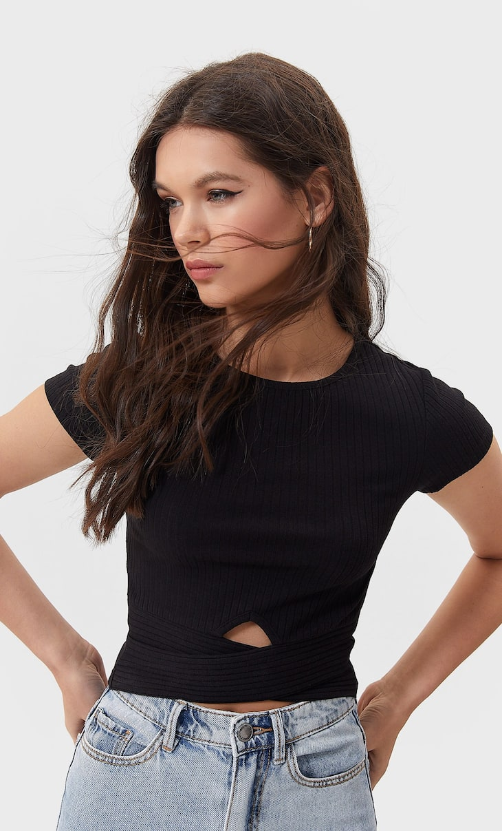 Cropped-Shirt in Wickeloptik mit Cut-Outs