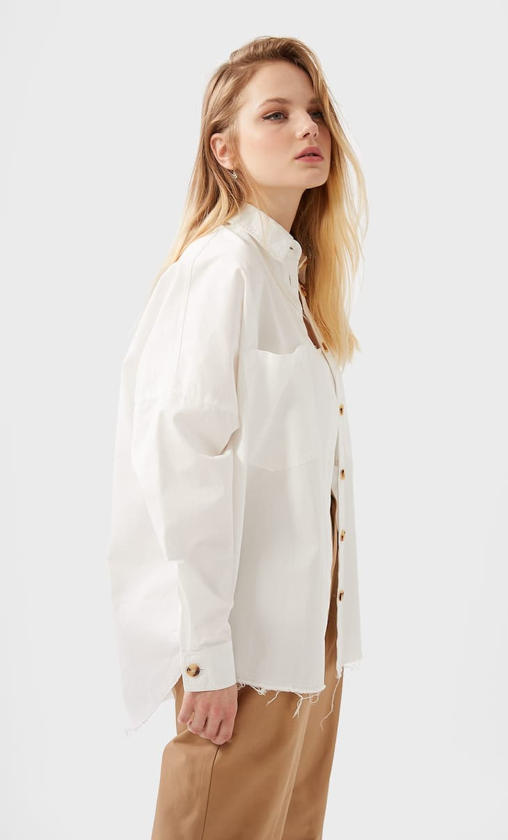 Oversized twill shirt with pockets