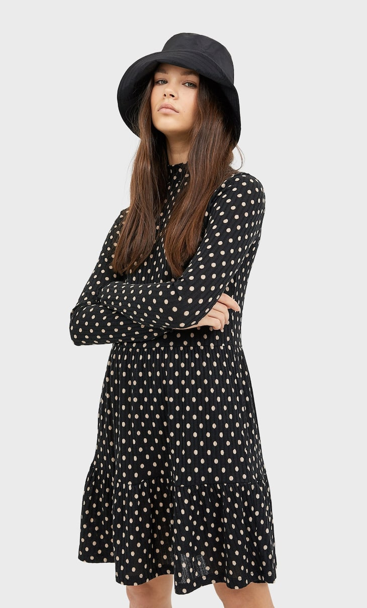 Ribbed polka dot mini dress