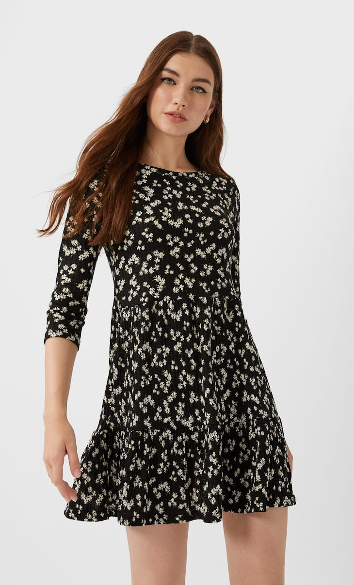 Ribbed floral print dress