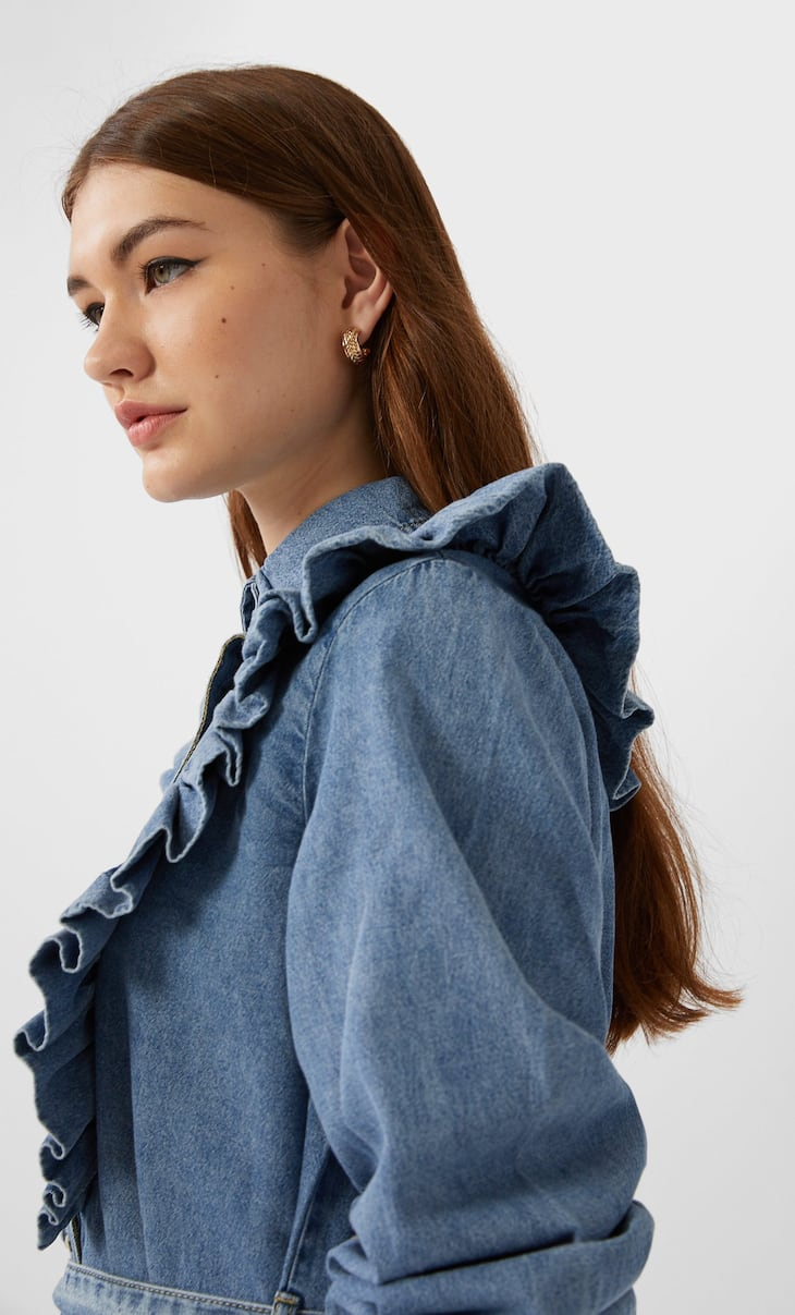 Belted denim shirt dress with frills