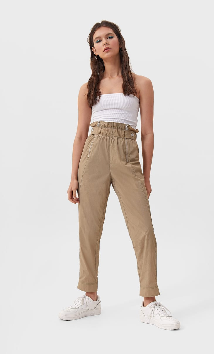 Nylon trousers with zips