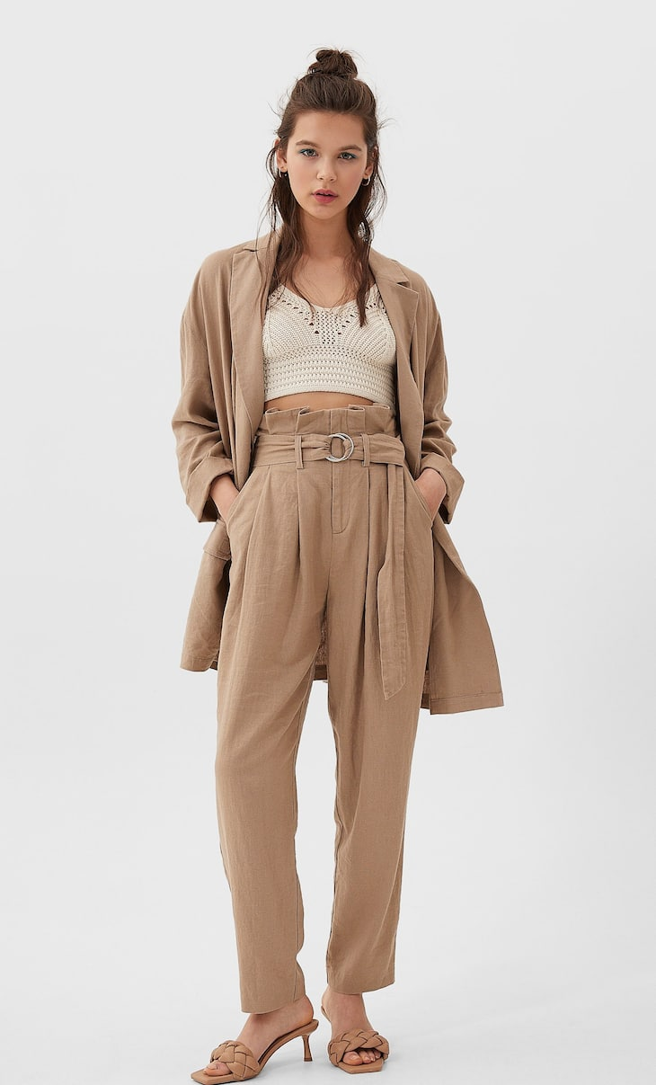 Belted paperbag linen trousers