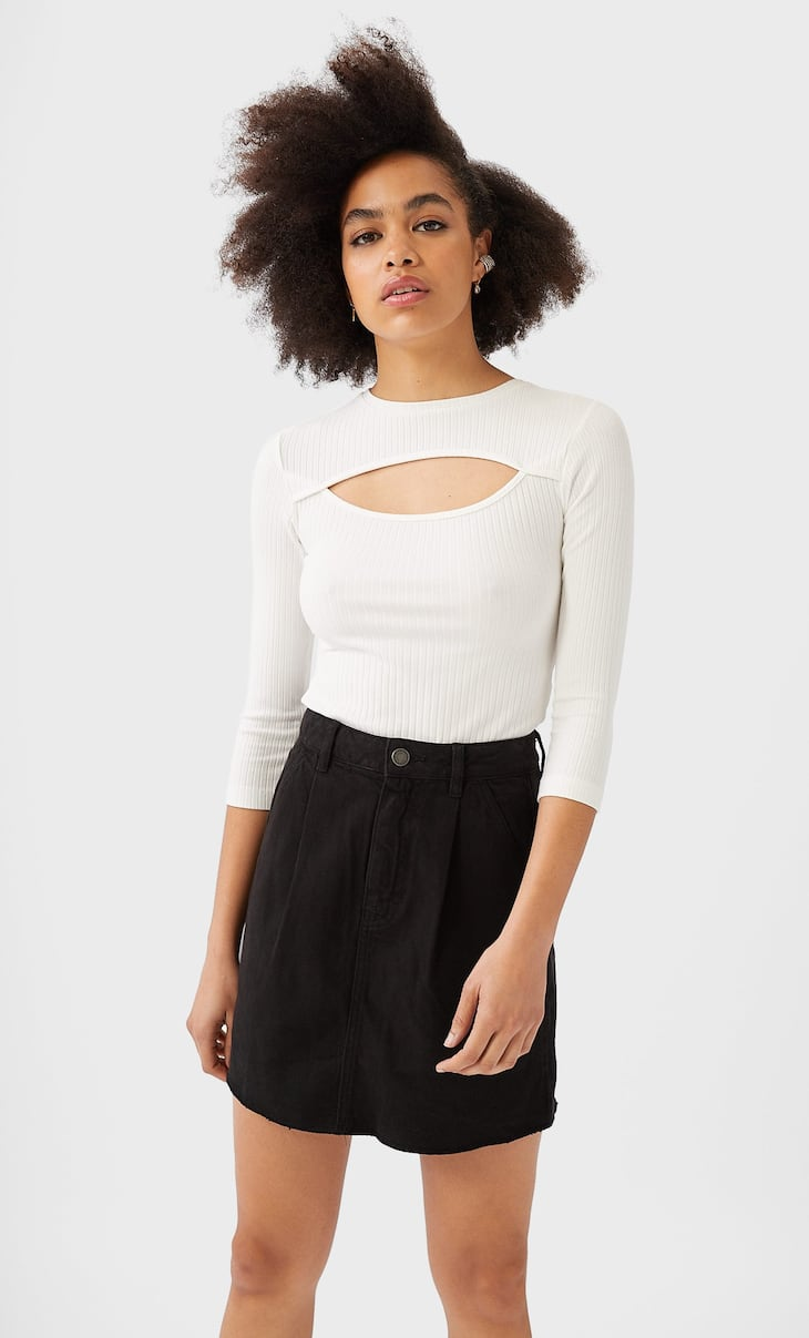 Twill slouchy skirt