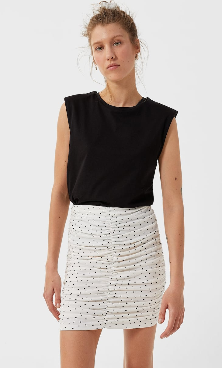 Printed ruched mini skirt