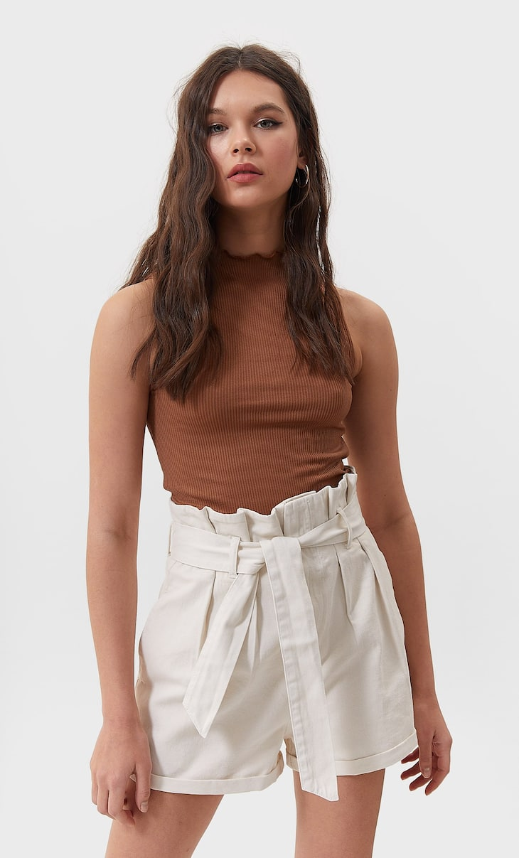 Belted twill shorts