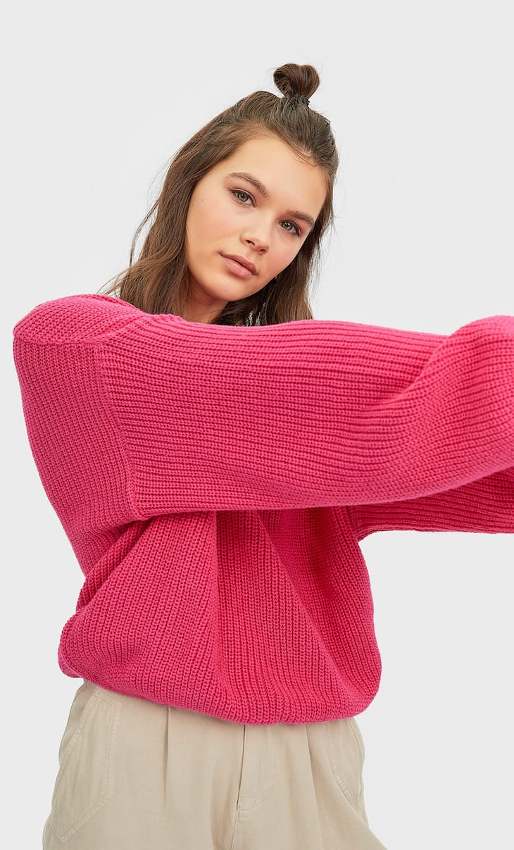 Knit sweater with puff sleeves