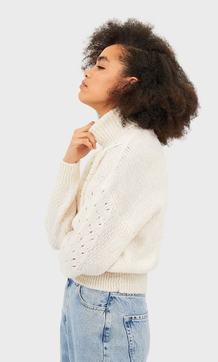 High neck sweater with openwork detail