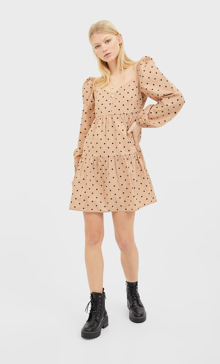 Poplin mini dress with voluminous sleeves