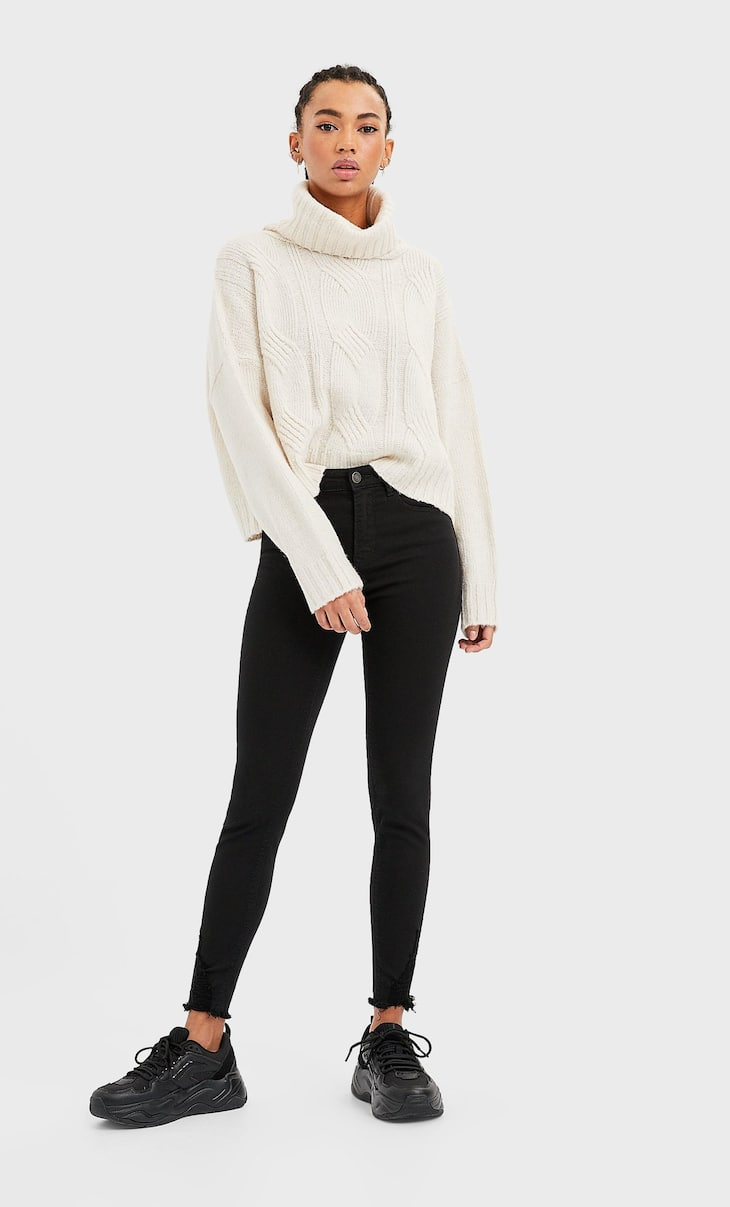 High waist skinny trousers with rips