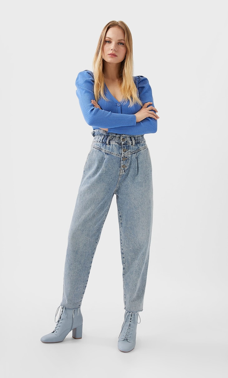 Jeans paperbag front yoke