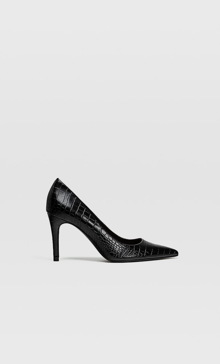 Black embossed high heel shoes
