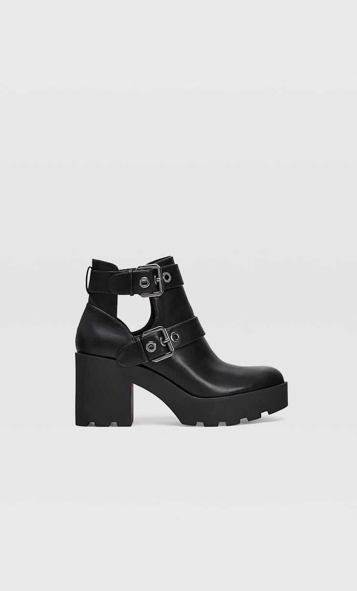 Black cut-out heeled ankle boots