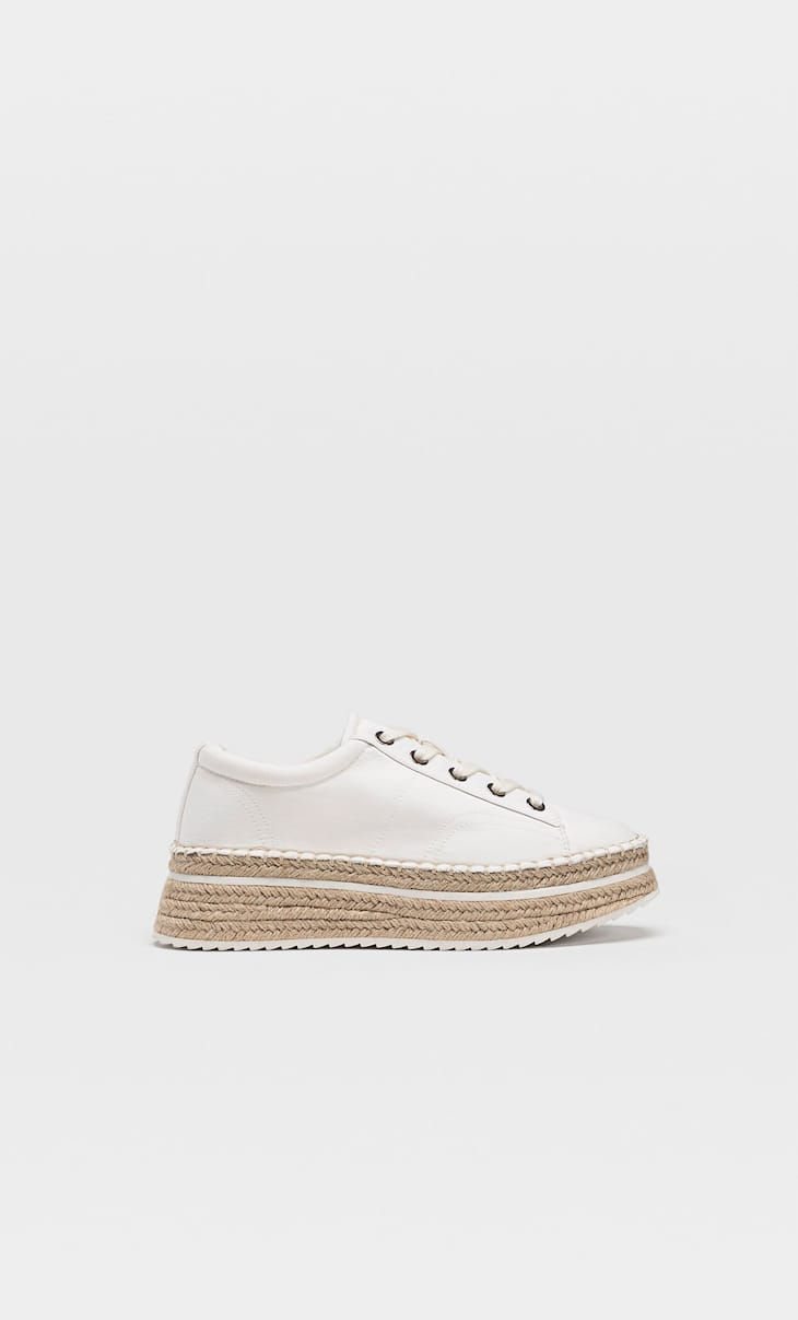 Jute platform espadrilles with laces