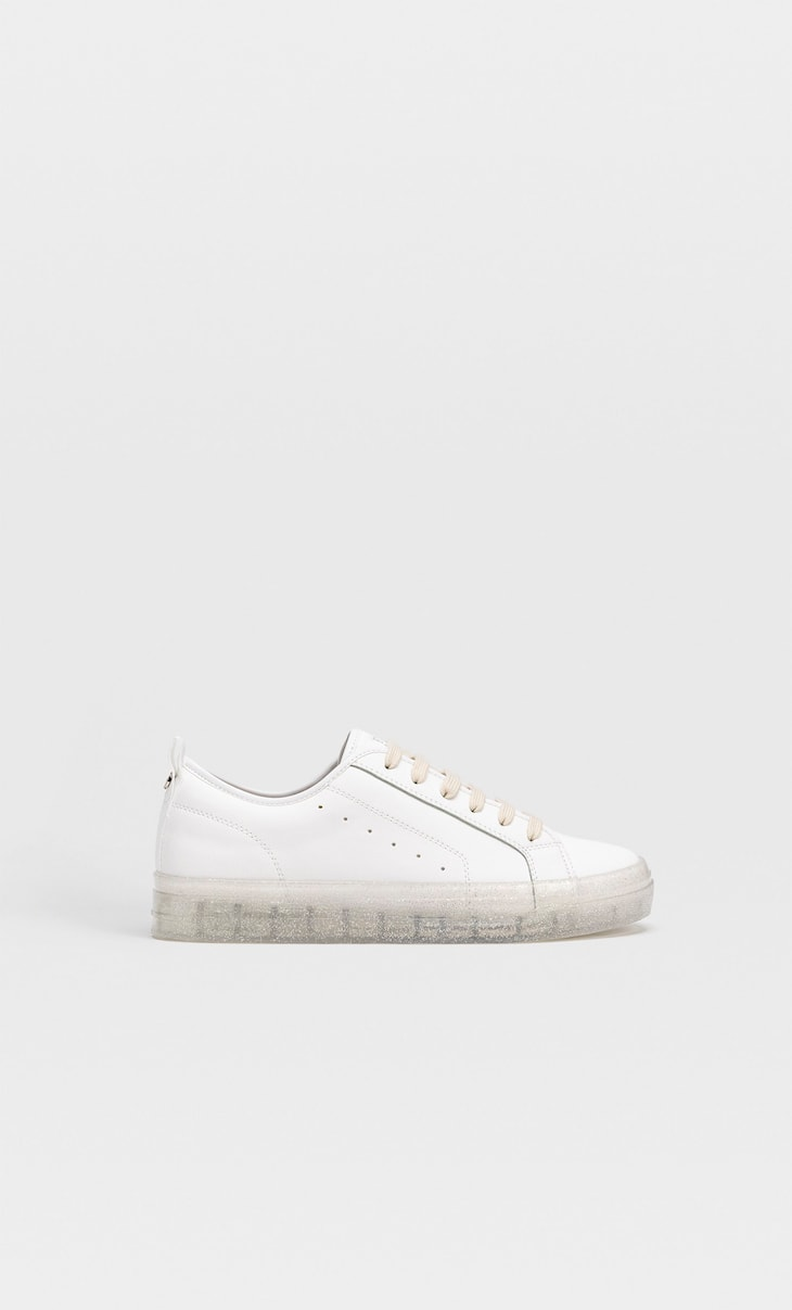 Trainers with translucent soles and glitter detail