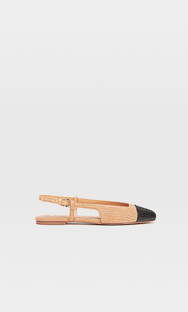 Raffia slingback ballerinas with toecap detail
