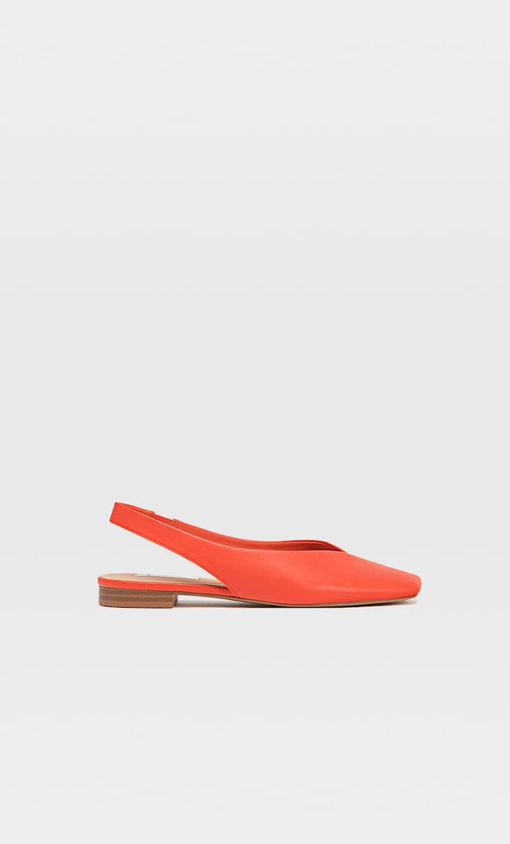 Red flat slingback shoes