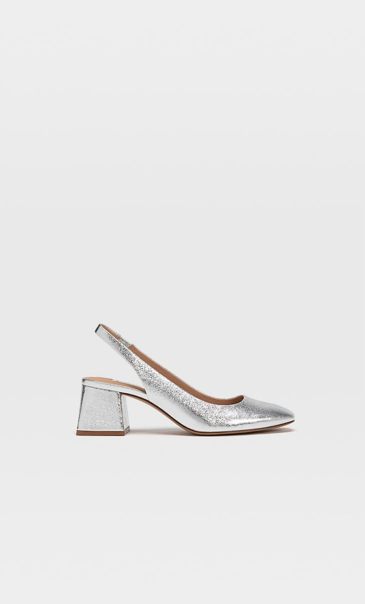 Silver slingback heels with square toe