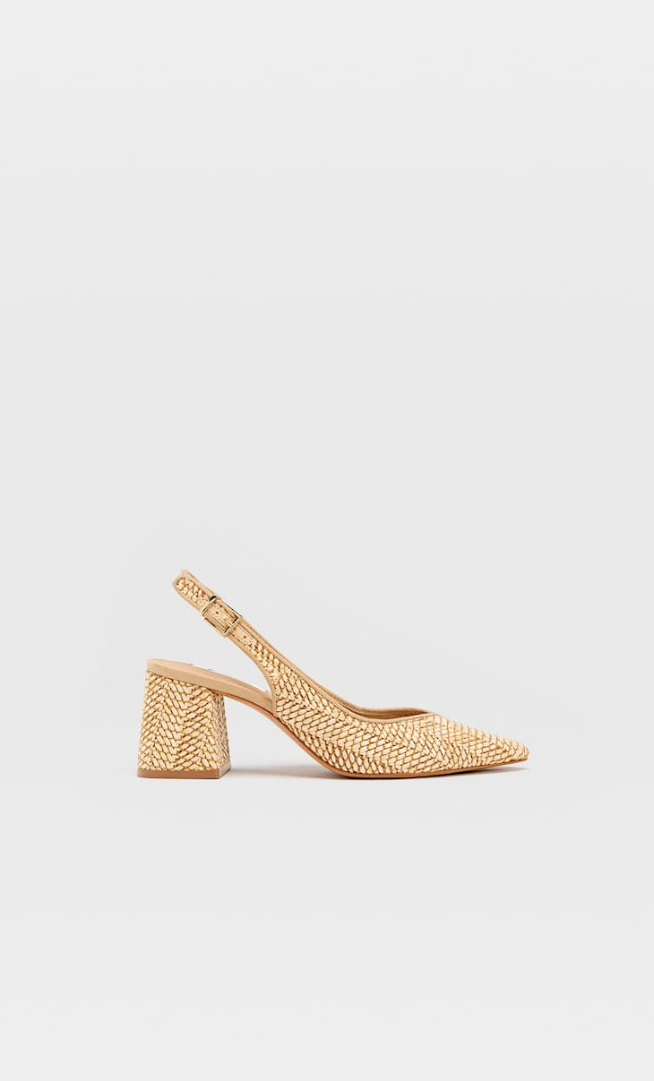 Raffia high-heel slingback shoes