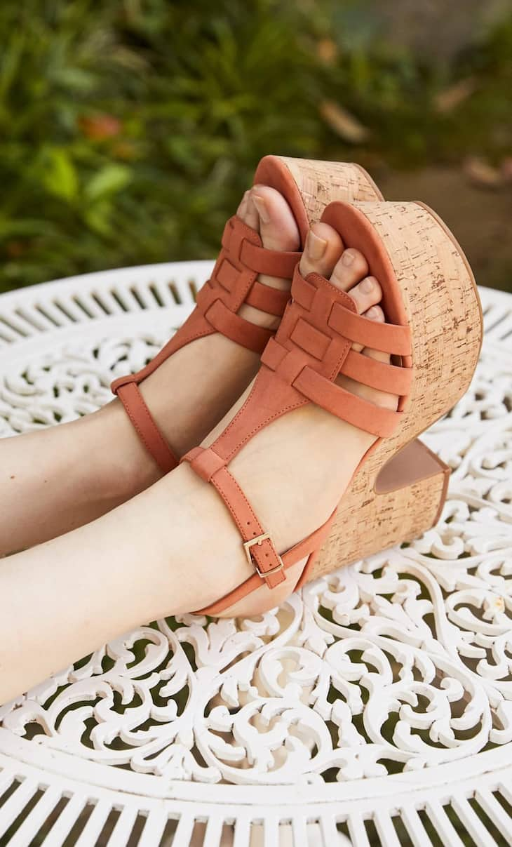 Cork platform high-heel sandals