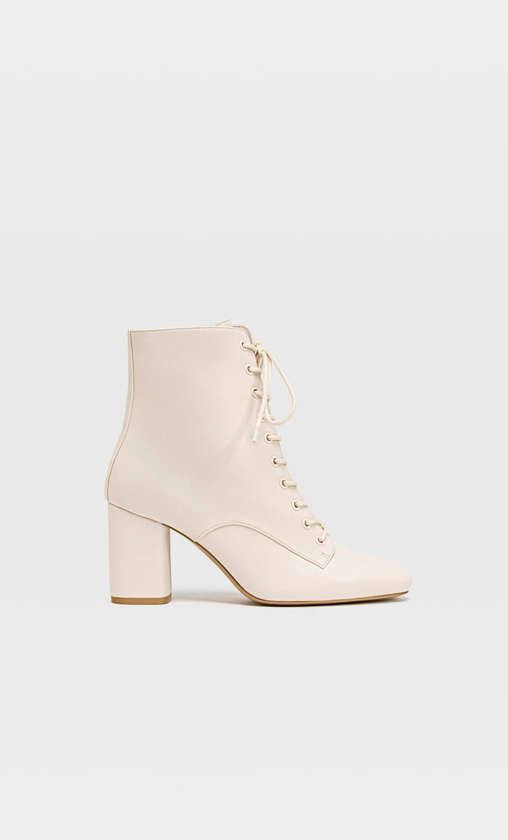 Lace-up high heel ankle boots