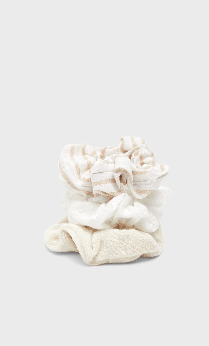 Set of 3 striped and towel scrunchies