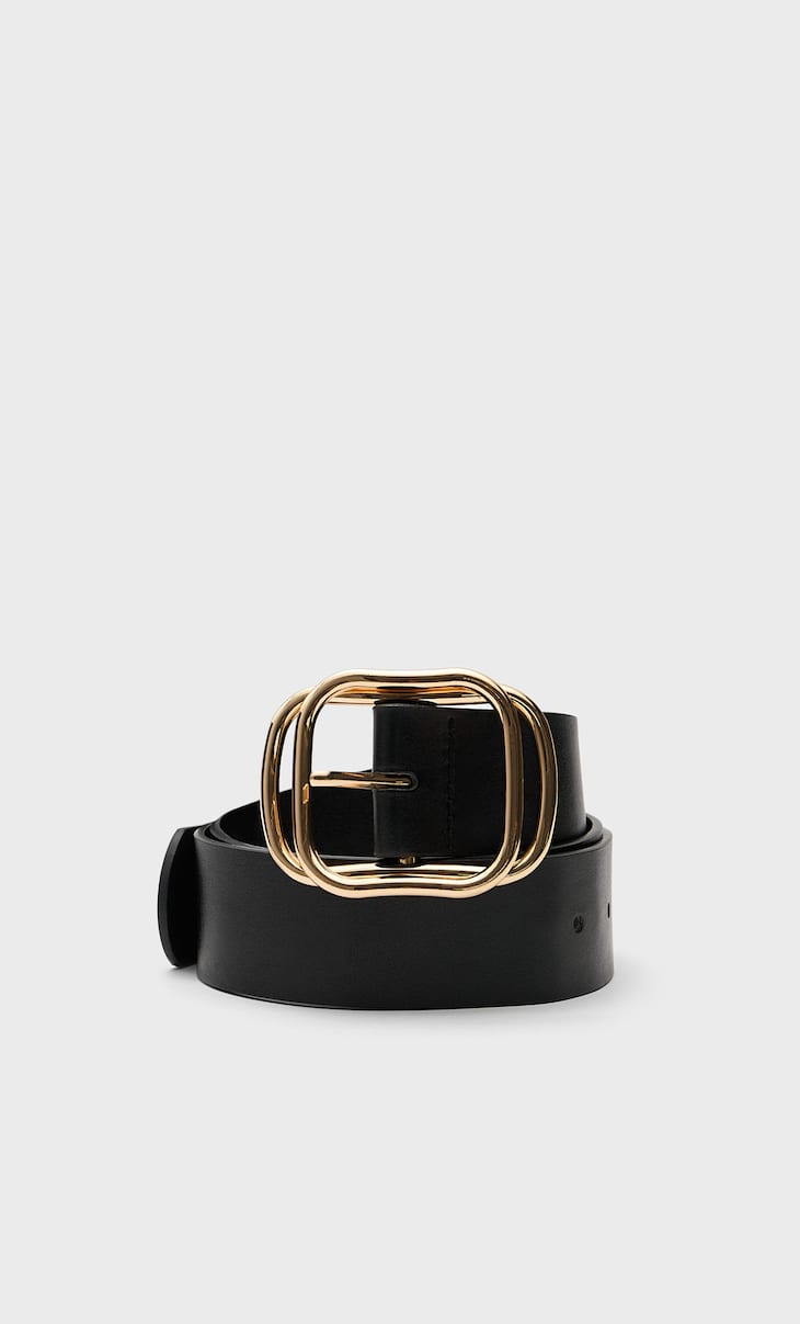 Belt with superimposed buckle