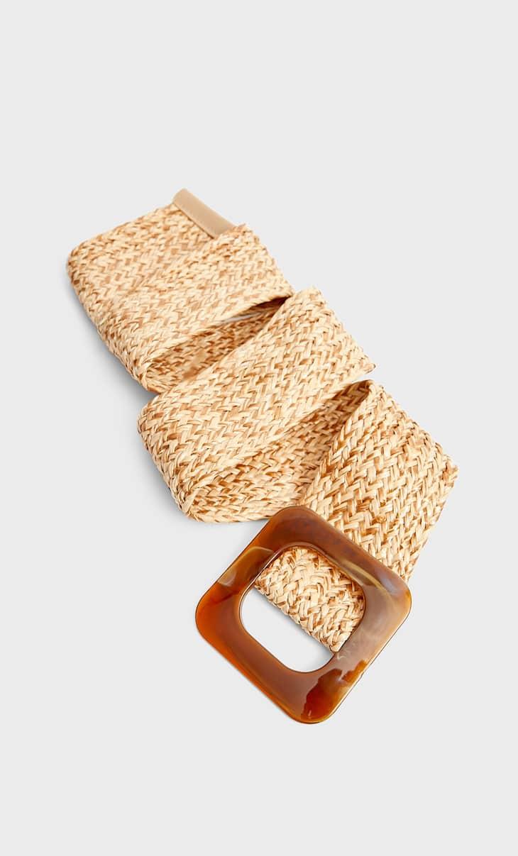 Wide raffia belt