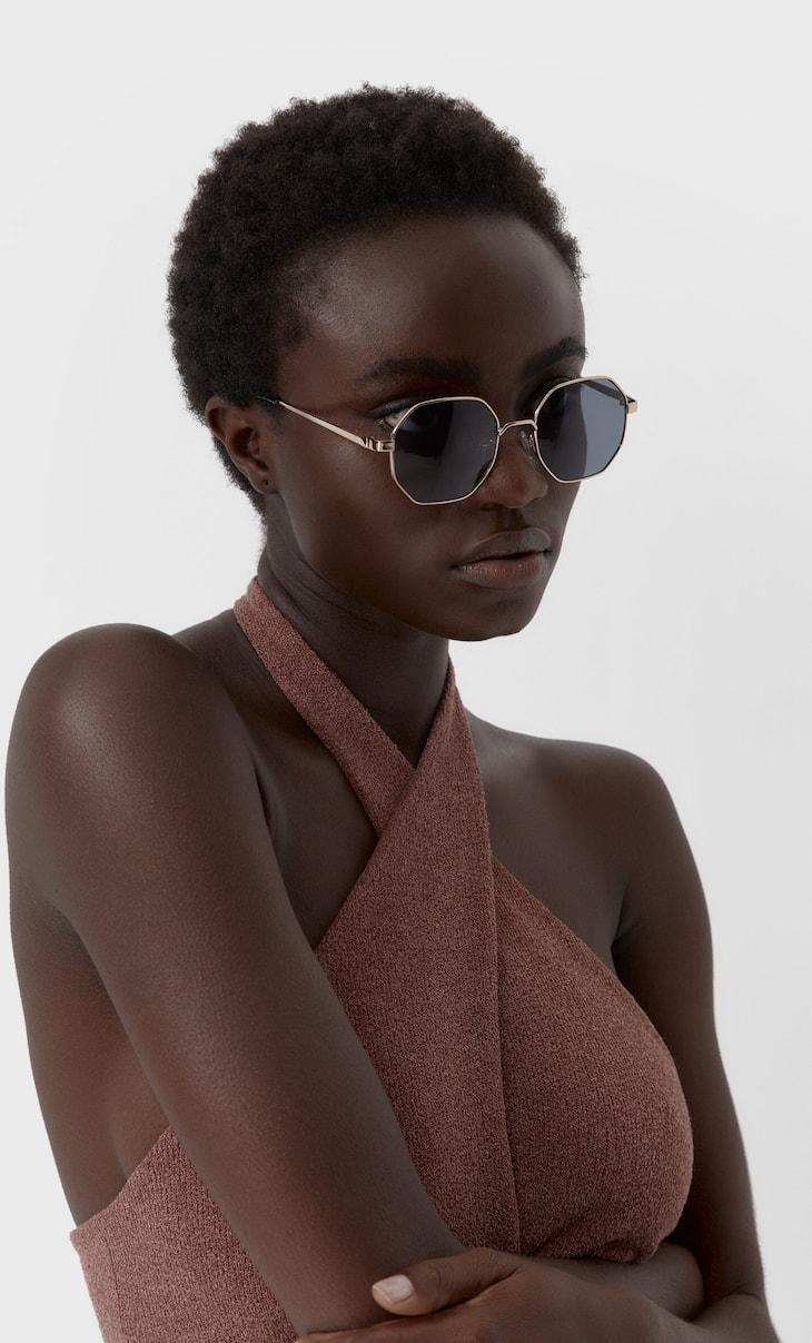 Metallic geometric sunglasses