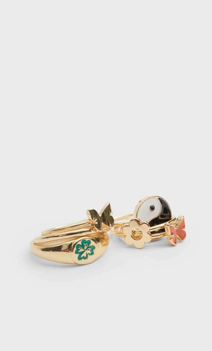 Set of 6 retro-style rings