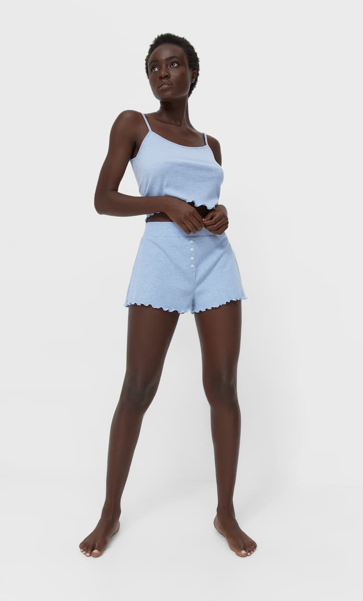 Ribbed pyjama shorts with buttons