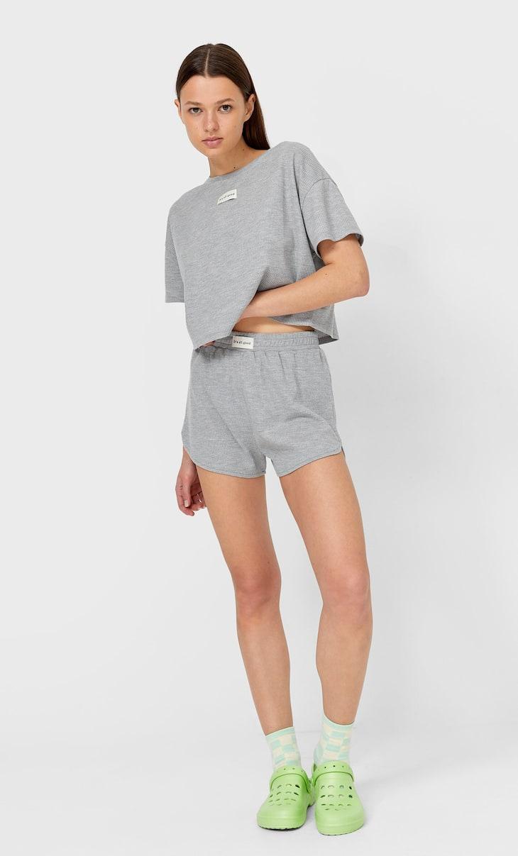 Waffle-texture pyjama shorts