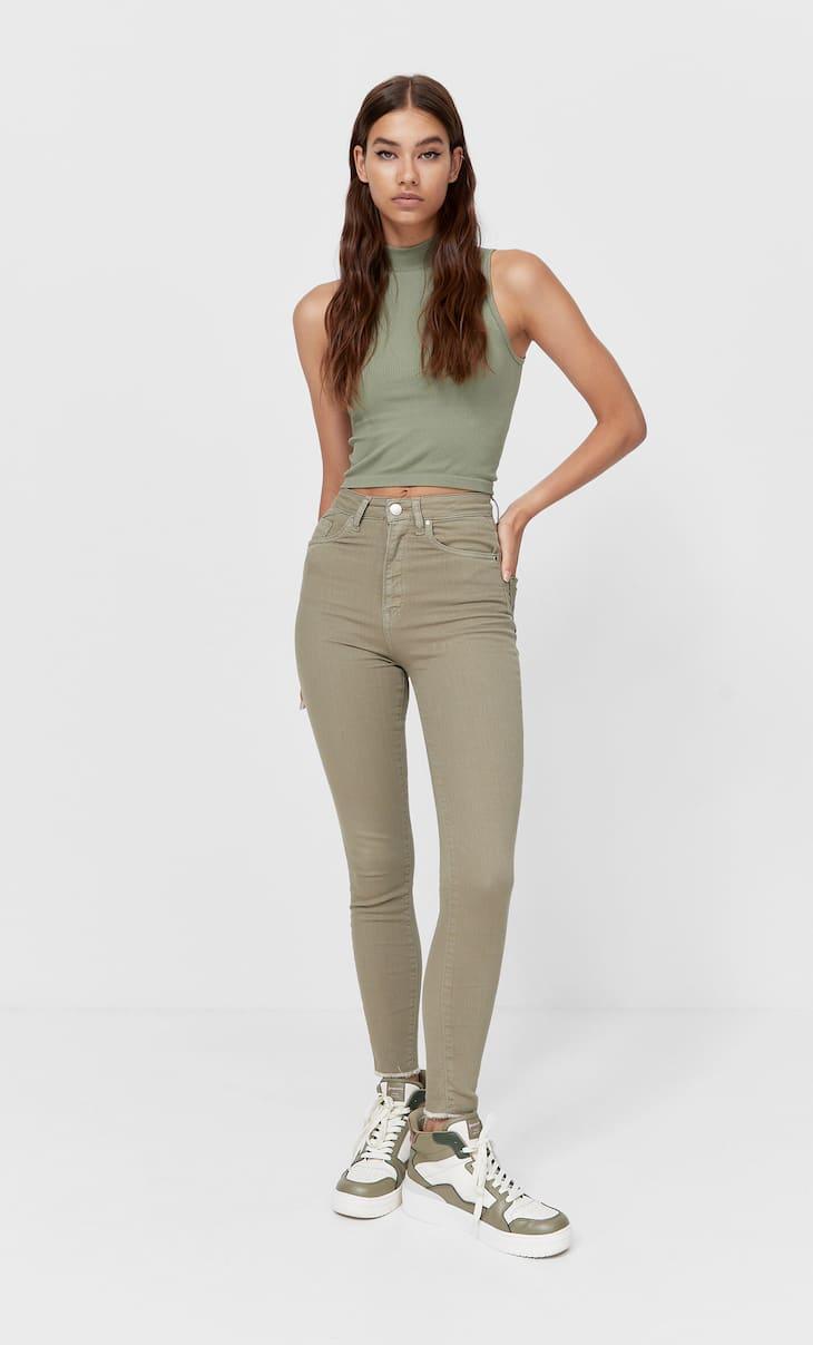 Coloured super high waist jeans