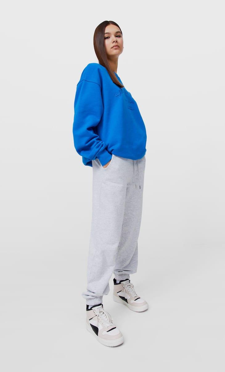 Plush jersey jogging trousers