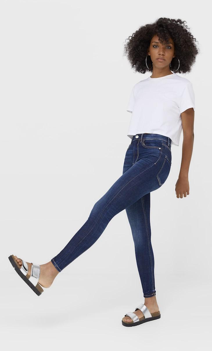 Waist-high skinny jeans