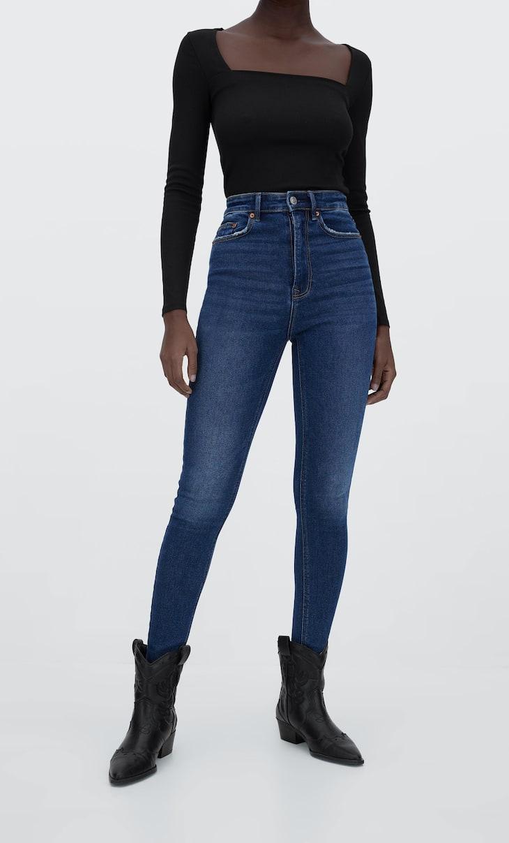 Vintage-style super high-waist jeans