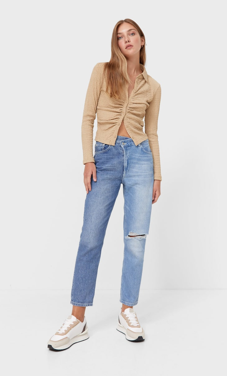 Jeans mom fit crossover