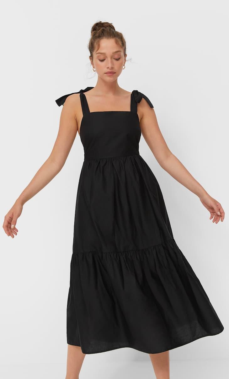 Poplin midi dress with straps